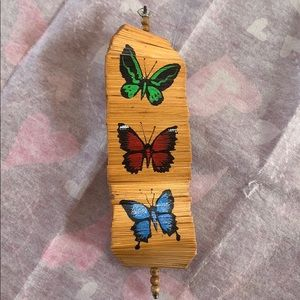Vintage wooden hanging butterfly decoration retro